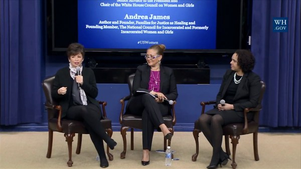 Image: Valerie Jarrett, left, addresses a convening on Women and the Criminal Justice System