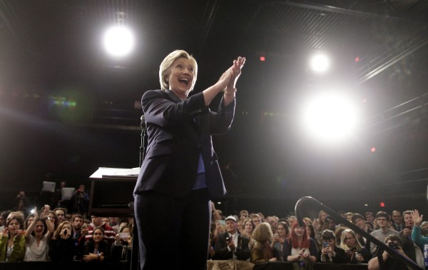 Image: Clinton gestures during a campaign event at Purchase College
