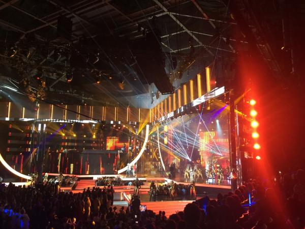 Carmen Pelaez's view of the 2016 Latin Billboard Awards stage.