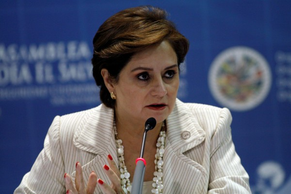 Photo of Patricia Espinosa when she was still Mexico's Foreign Minister speaking during a news conference.