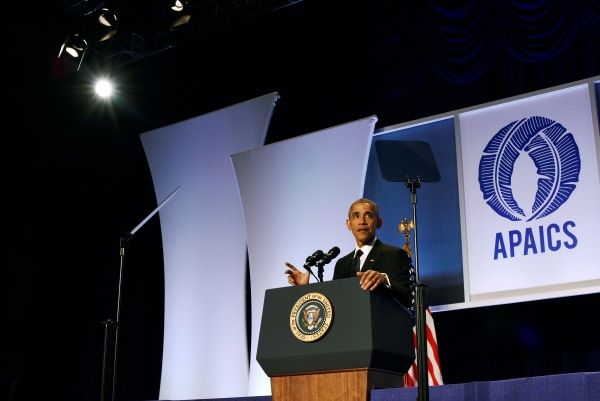 Image: U.S. President Barack Obama delivers the keynote speech at the Asian Pacific American Institute for Congressional Studies' (APAICS) 22nd annual awards dinner at the Washington Hilton hotel in Washington