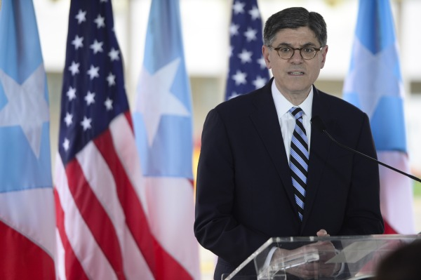 U.S. Treasury Secretary Jacob Lew holds a press conference at the Central Medical Center in San Juan, Puerto Rico, Monday, May 9, 2016.