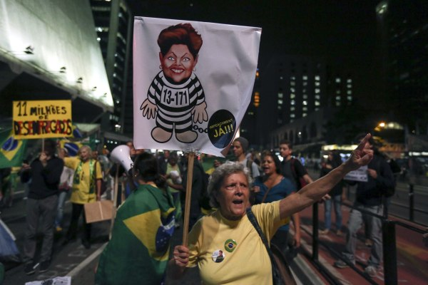 Demonstration against Brazilian President Rousseff in Sao Paulo