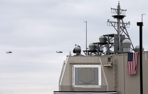 Image: U.S. helicopters fly over the Aegis Ashore Missile Defense System