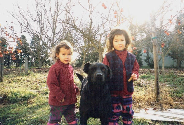 Frances Kai-Hwa Wang's daughters, Hao Hao and Mango, with their grandfather's dog, Terry