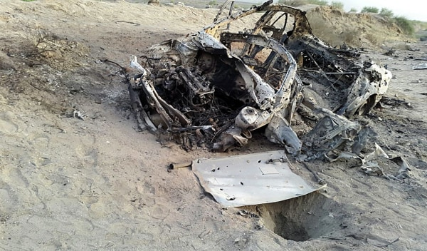 Image: Photo purporting to show Mansoor's destroyed vehicle