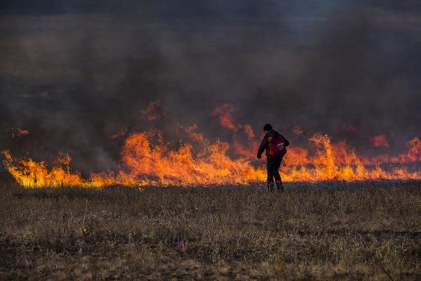 Image: A firefighter battles a blaze in Russia's Zabaikalsky region