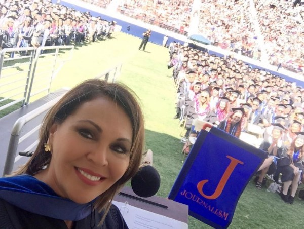 Univision anchor Maria Elena Salinas taking a selfie after her speech.