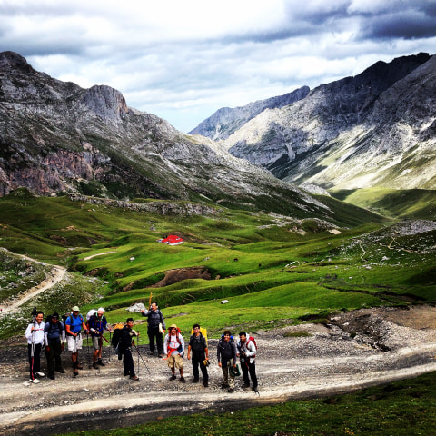 The pilgrims walk through the challenging terrain of Picos de Europa, where they learned to work together.
