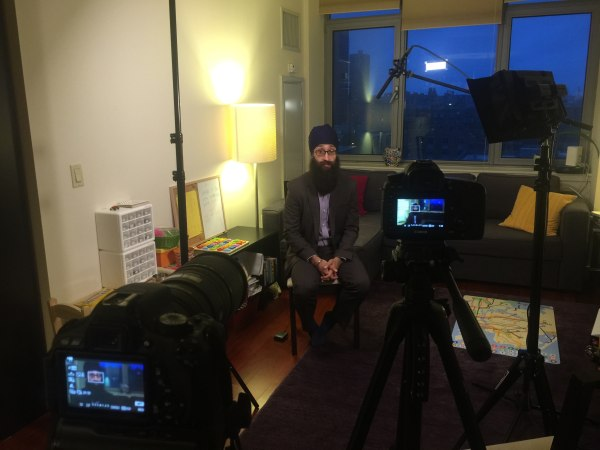 A behind-the-scenes shot of Columbia University Professor Prabhjot Singh being interviewed by Maneetpaul Singh Chawla.