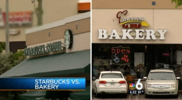 There's trouble brewing between The Pinecrest Bakery and Starbucks over who's allowed to be brewing coffee, and the little guy is steamed at the big guy.