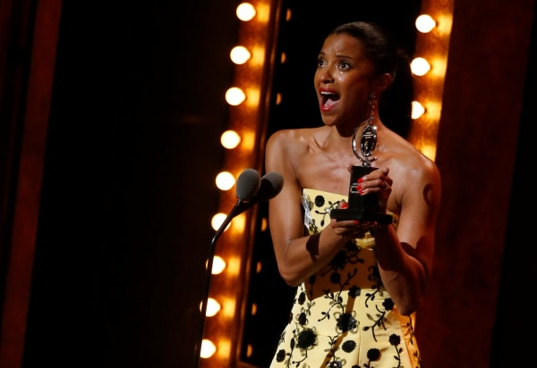 "Image: Renee Elise Goldsberry wins the award for Best Performance by an Actress in a Featured Role in a Musical for ""Hamilton."""