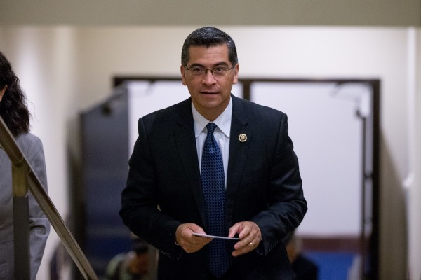 Xavier Becerra arrives for a news conference with other House Democratic leaders on Capitol Hill in Washington, DC