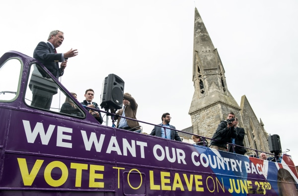 Image: Nigel Farage campaigns for Brexit on June 13, 2016