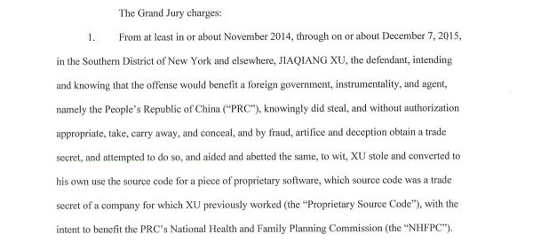 An excerpt of court documents detailing the charges against Xu.