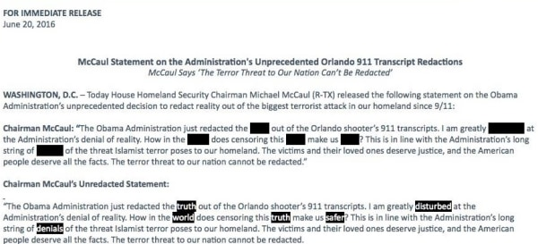 IMAGE: Michael McCaul statement