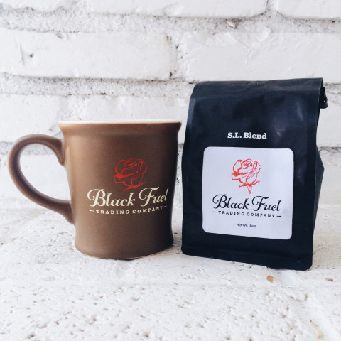 Black Fuel Trading Mug and Coffee Bag