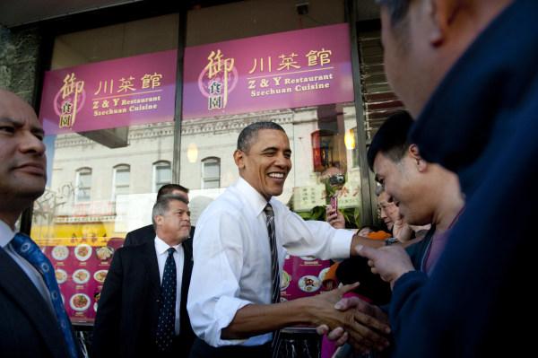 Image: President Barack Obama in San Francisco's Chinatown