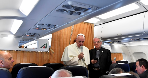 Image: Pope Francis speaks to journalists on his flight back to Rome following a visit at Armenia