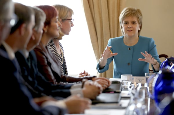 Image: Scotland's First Minister Nicola Sturgeon speaks during an emergency cabinet meeting at Bute House in Edinburgh
