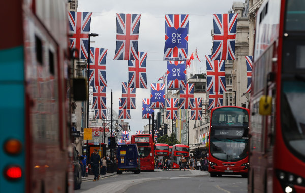 Image: Union flags in London's Oxford Street