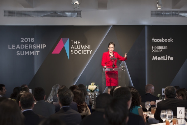 Ana Maria Chavez, CEO of Girl Scouts of America, delivers the keynote address of The Alumni Society's leadership summit.