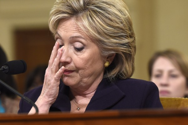 Former Secretary of State and Democratic Presidential hopeful Hillary Clinton testifies before the House Select Committee on Benghazi on October 22, 2015.