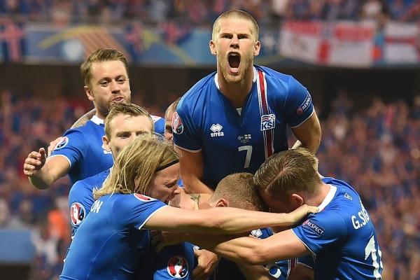 Image: Iceland celebrates a goal during Euro 2016