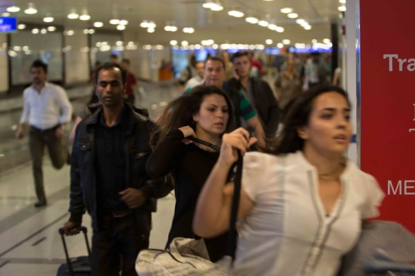 IMAGE: People running in Istanbul airport