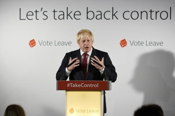 Image: Boris Johnson speaks at the group's headquarters in London