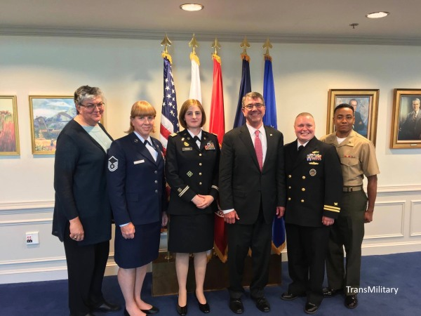 Transgender service members from SPARTA pose with SPARTA's Sue Fulton, far left, and Secretary of Defense Ash Carter, third from right.