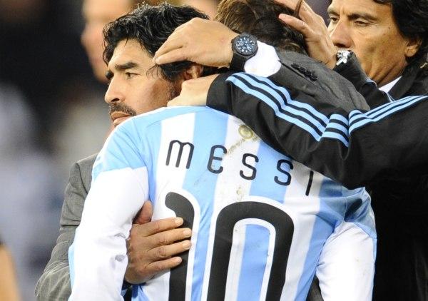 Argentina's Coach Diego Maradona Hugs Messi