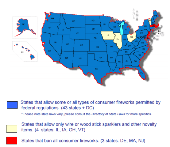 Map of state firework laws.