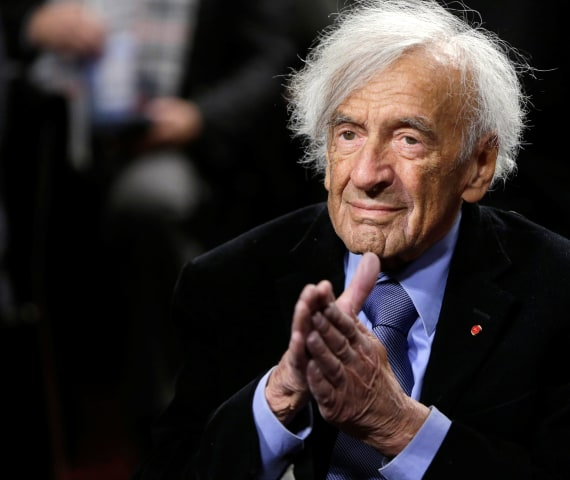 Image: File picture of Nobel Peace Laureate Wiesel at a roundtable discussion on Capitol Hill in Washington
