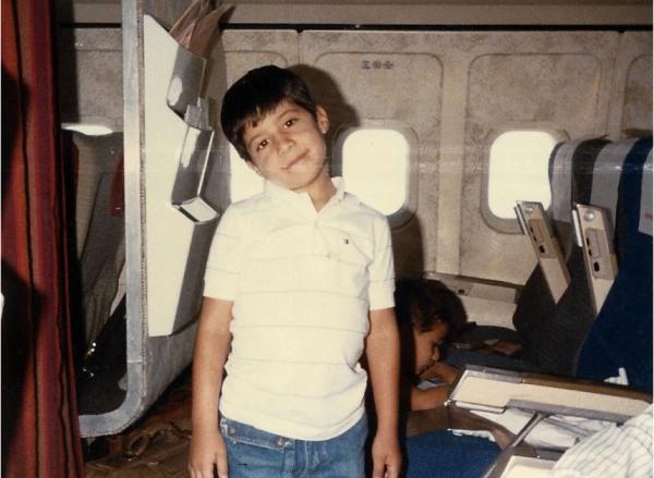 Mariano Castillo boarding a flight from Peru to Houston in 1986.