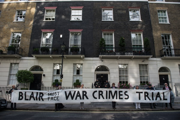 Image: Protesters outside Tony Blair's home in London