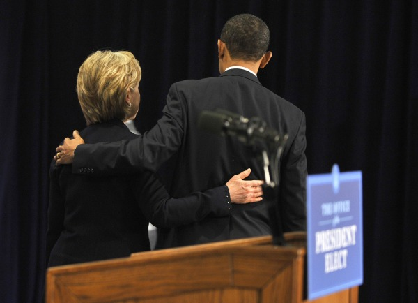 US President elect Barack Obama and Hillary Clinton