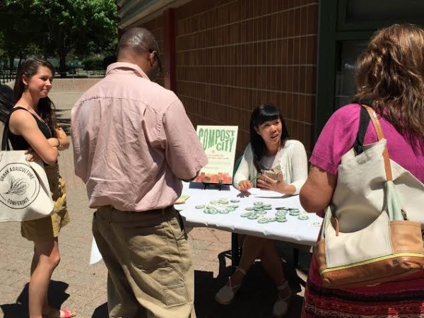 Rebecca at a book signing event at the Horticultural Society of New York