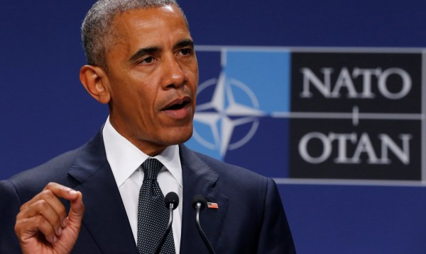 Image: Obama delivers remarks to reporters after meeting with Duda at the NATO Summit in Warsaw, Poland