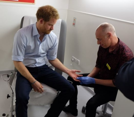 Image: Prince Harry is tested for HIV in a London hospital.