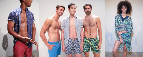 Models pose in Thorsun swimwear at S/S 2017 New York Fashion Week: Men's.