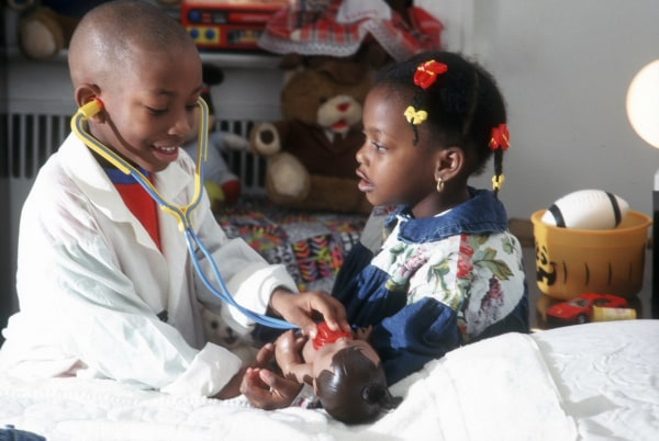 Children playing doctors and nursers