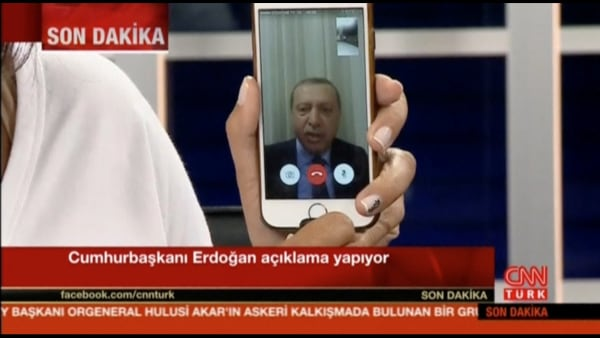 Image: Still taken from video shows Turkish president on Facetime