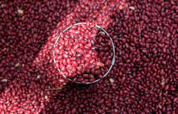 This file photo taken on October 07, 2010 shows beans for sale at a market in Tegucigalpa.