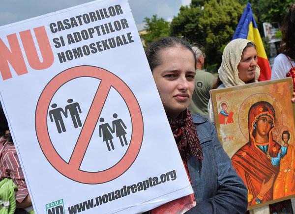 Anti-Gay Protest in Romania