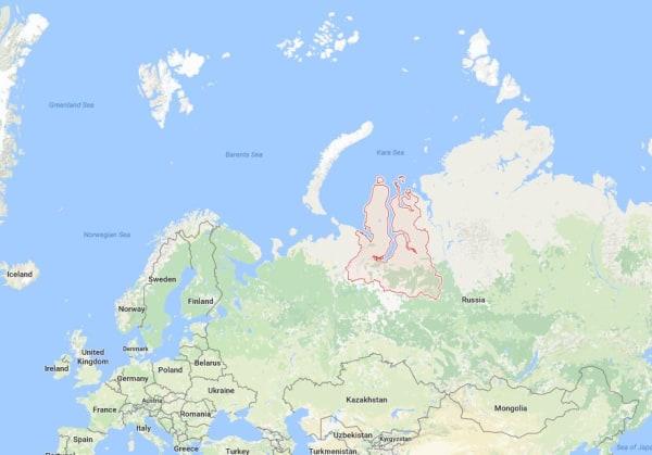 Image: Map showing Russia's Yamalo-Nenets autonomous district