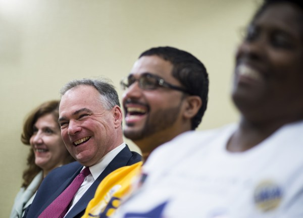 Virginia Democratic candidate for U.S. Senate and former Gov. Tim Kaine