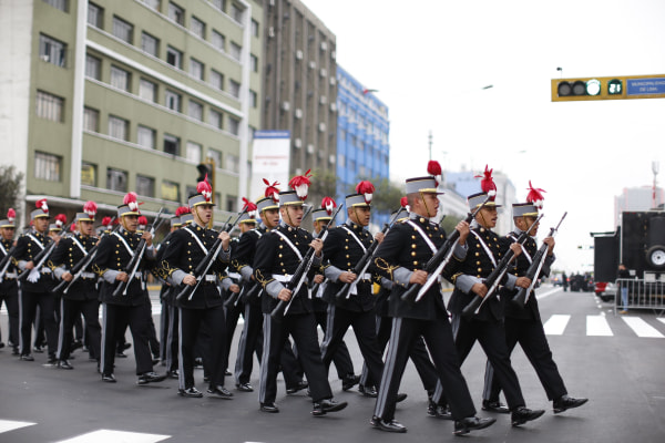 Peruvian Army inauguration ceremony for Pedro Pablo Kuczynski in Lima on July 28, 2016