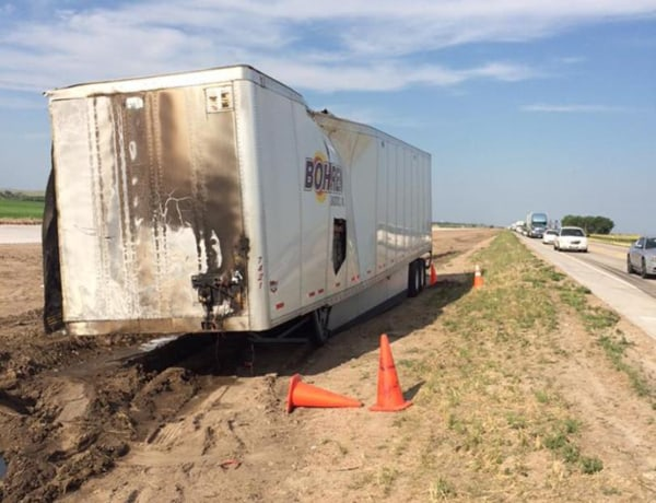 Image: The scene of a crash involving a semi and several passenger vehicles