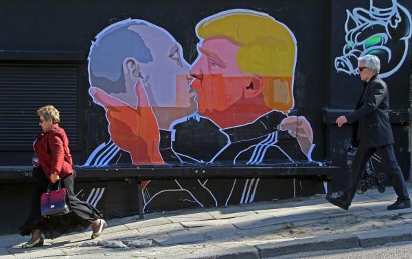 Image: LITHUANIA-US-MURAL-TRUMP-PUTIN